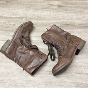 Brown Lace Up Combat Boots Size 9.5